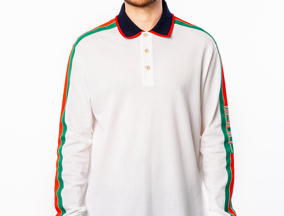 Gucci Tape Long Sleeve Polo
