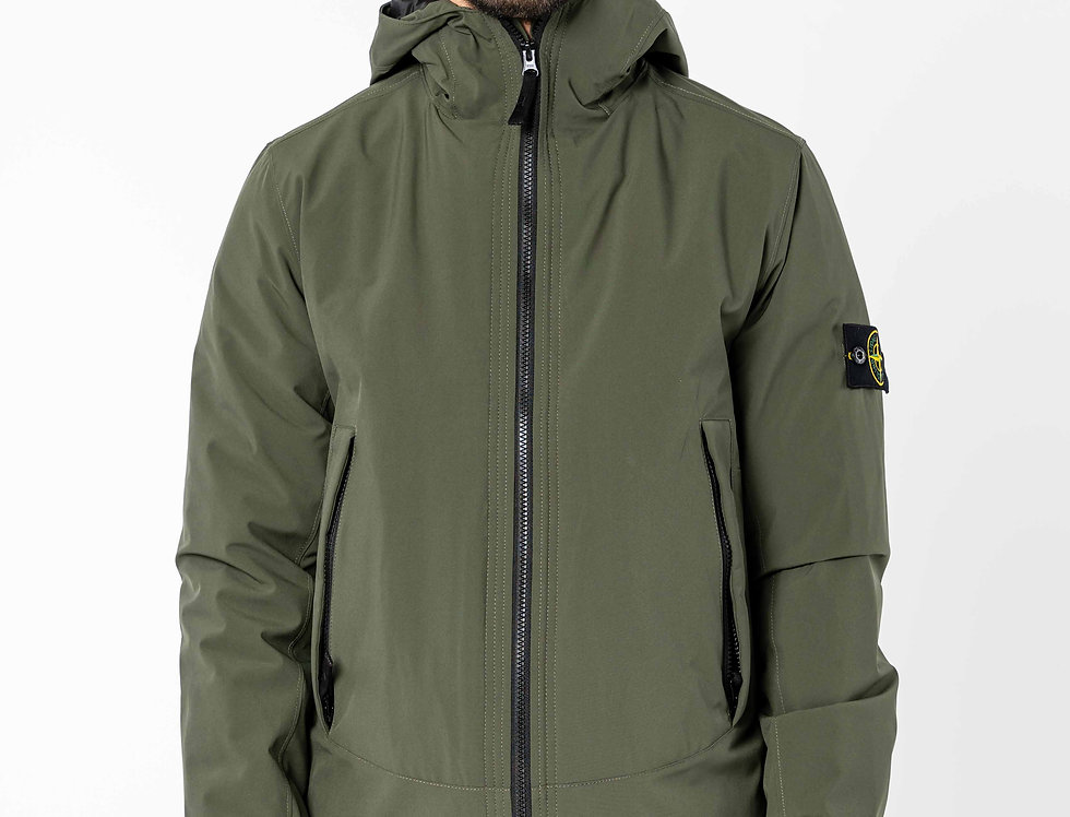 Stone Island Soft Shell-R With Primaloft Insulation Hooded Jacket In Dark Forest