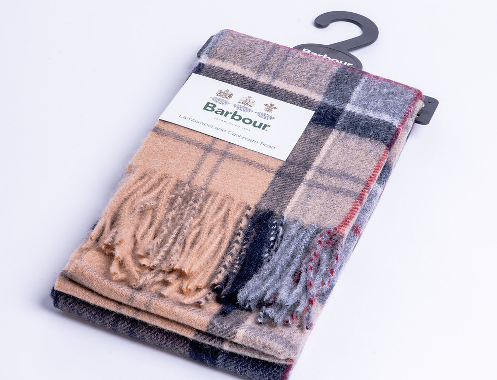 Barbour Scarf - Beige Cashmere & Lambswool flat view