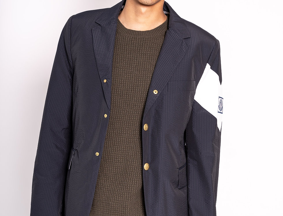 Moncler Striped Buttoned Blazer in Navy