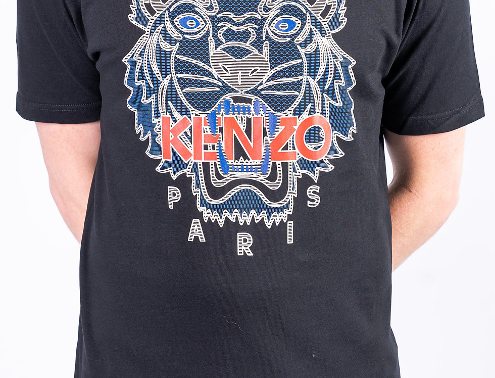 Kenzo black T-shirt - Multicoloured Tiger front view