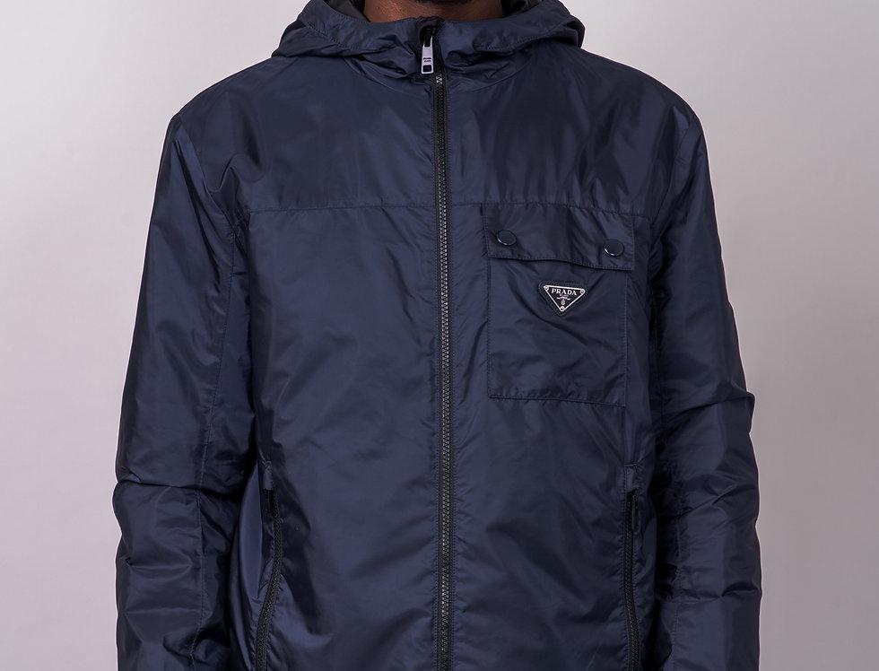 Prada Logo-Appliquéd Nylon Hooded Jacket front view