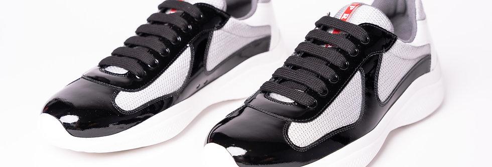 Prada Americas Cup Sneakers In Black & Silver front view