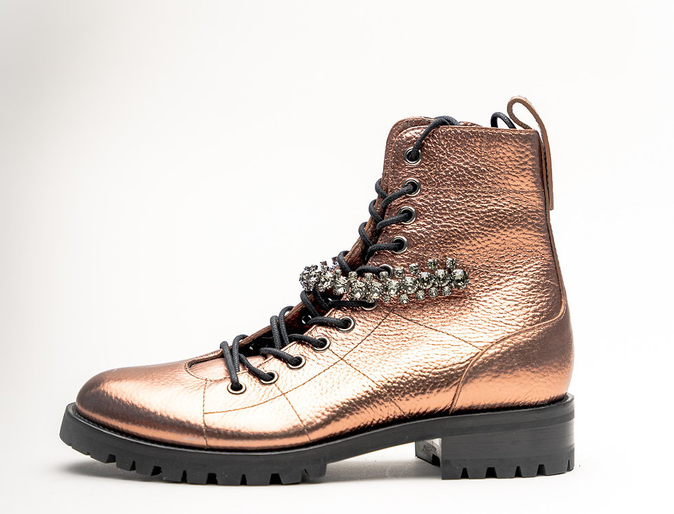 Jimmy Choo Ladies Cruz Flat Boot In Metallic Leather With Crystal Strap
