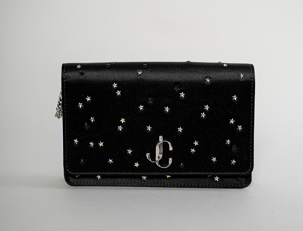 Jimmy Choo Palace Bag  With Stars in Black Satin