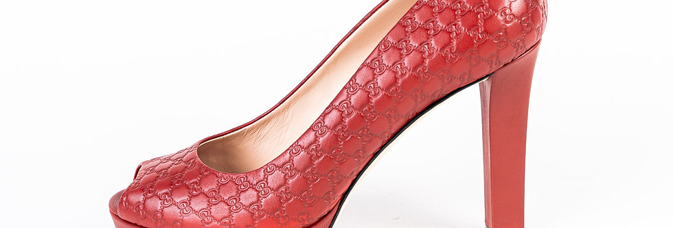 Gucci Embroidered Heel In Dark Red side view