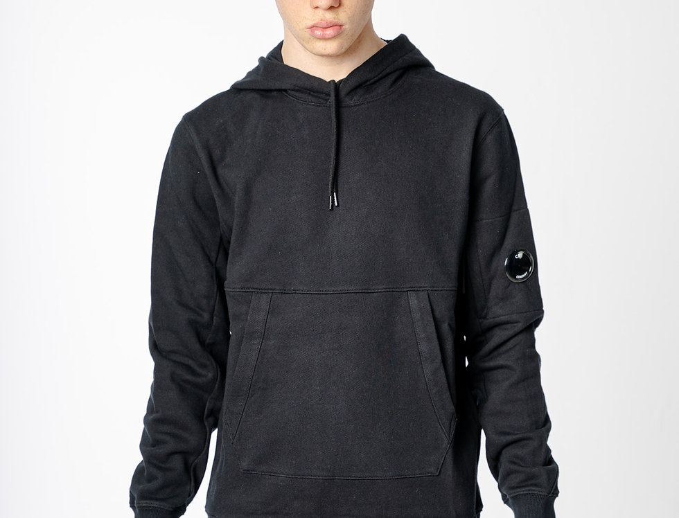 C.P. Company Diagonal Raised Fleece Garment Dyed Lens Hoodie in Black