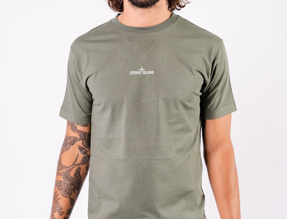Stone Island SS20 Green Graphic Print T-Shirt front view
