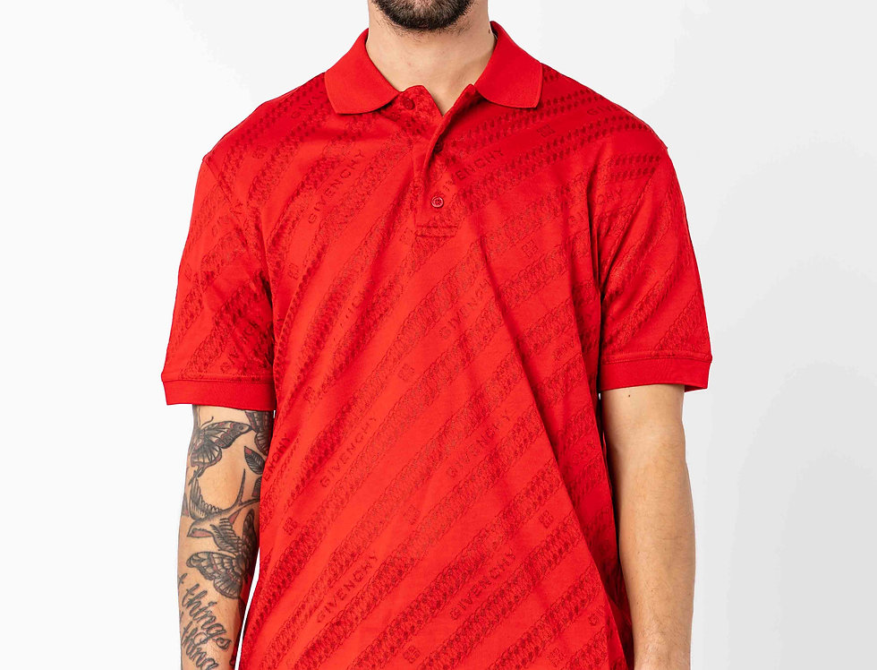 Givenchy Jacquard Polo In Red