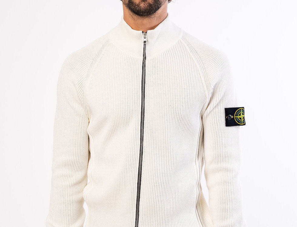 Stone Island Zipped chunky knit In Off-White