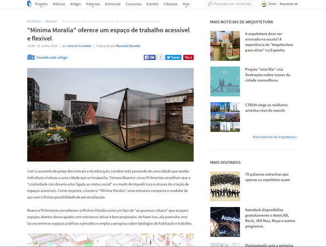 "Archdaily Brasil! And ""MINIMA MORALIA"" keeps travelling around the world..."