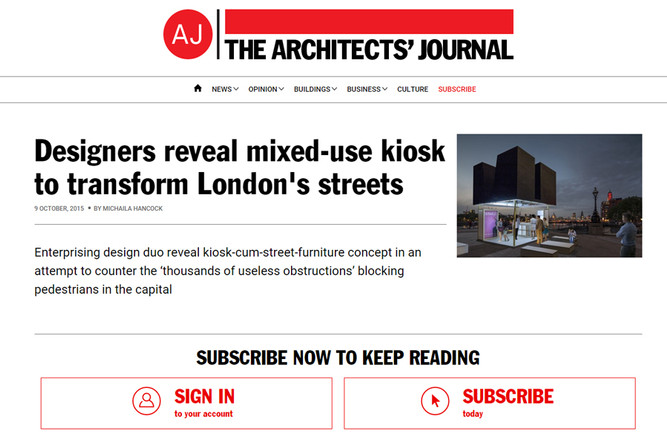 """Designers reveal mixed-use kiosk to transform London's streets"". ""JUST A BLACK B"