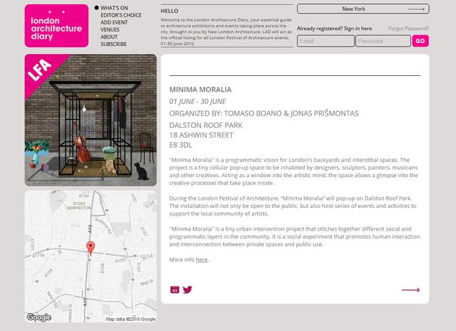 """""""MINIMA MORALIA"""" will be part of London Festival of Architecture 2016!"""