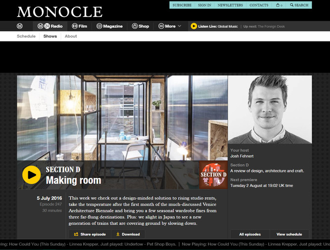 Thanks to MONOCLE Section D!  Here the link to the interview...