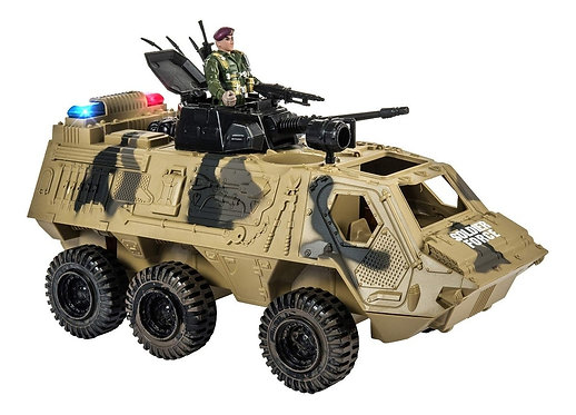 Carrito de juguete militar con muñeco