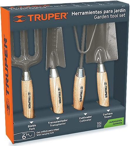 """Juego 4 pzs herramientas de jardín 6"""" Truper"""