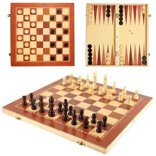Juego de mesa 3 en 1 - ajedrez, damas y backgammon