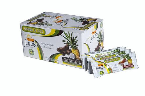 Barrinha de Fruta de Abacaxi com Coco sem adição de açucar coberta com chocolate