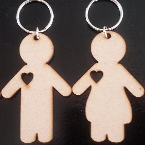 Cute Couple Keyring Set