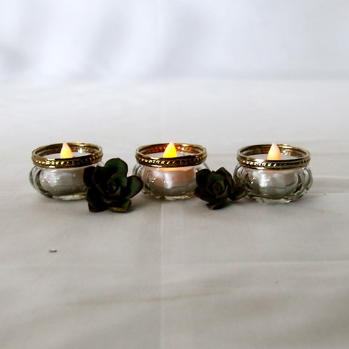 Tealight candle votive - Gold & Crystal