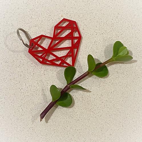 Geometric Heart Keyring
