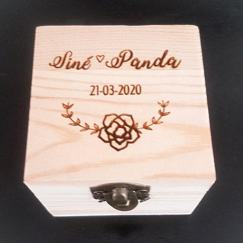 Engraved Pine Square Ring Box