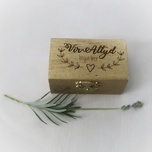 Engraved Pine Rectangular Ring Box