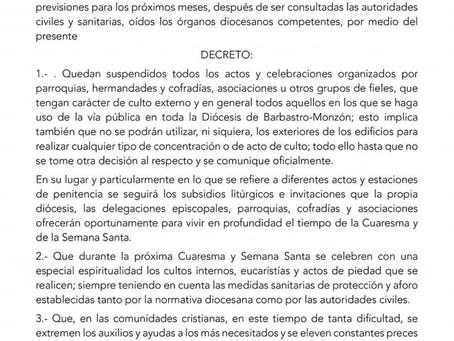 Decreto oficial con motivo de la crisis sanitaria del Covid-19.