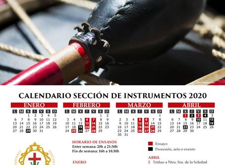 Calendario 2020 de la Sección de Instrumentos