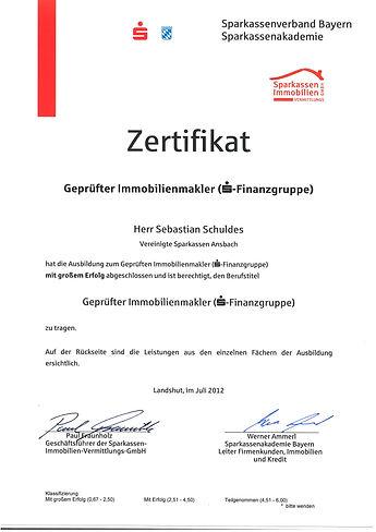 Zertifitkat Immobilienmakler Landkreis Ansbach