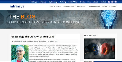 Tim Hunter Intrinsys guest blog on True-Load creation