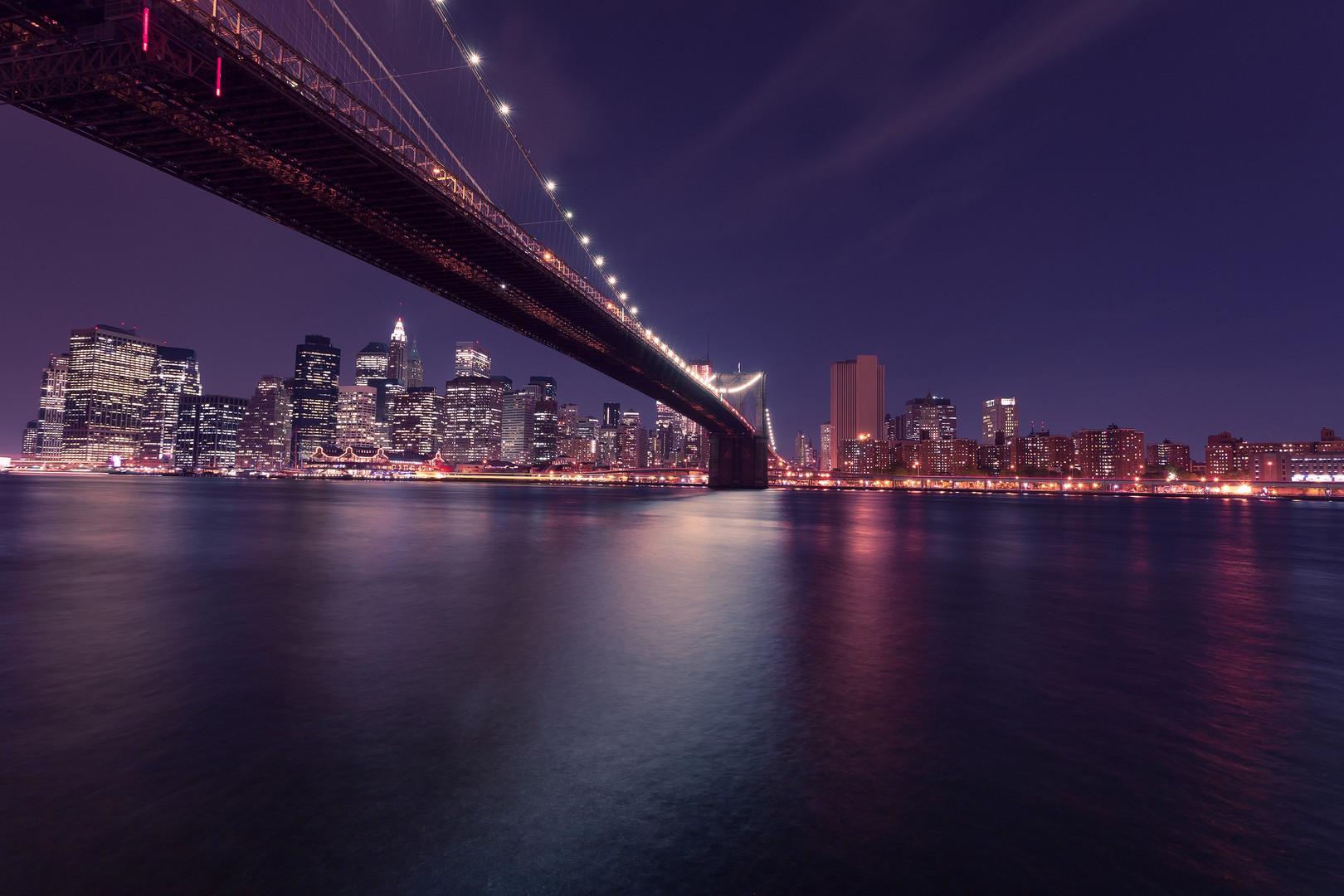 Brooklyn Bridge Night Lights - Anonymous
