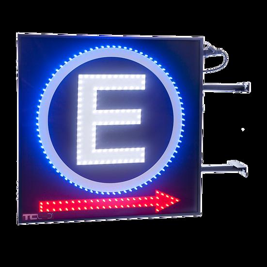 Painel de LED para estacionamento 60x60 - Dupla face com setas indicativas