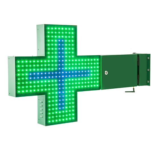 Cruz de LED para Farmácia 60x60 - Dupla face - Verde/Azul