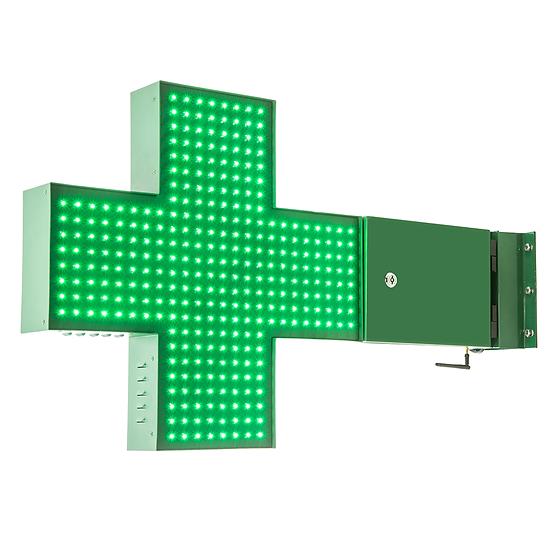 Cruz de LED para Farmácia 60x60 - Dupla face - Verde