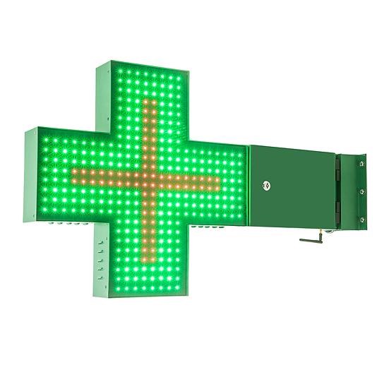 Cruz de LED para Farmácia 60x60 - Dupla face - Verde/Vermelho
