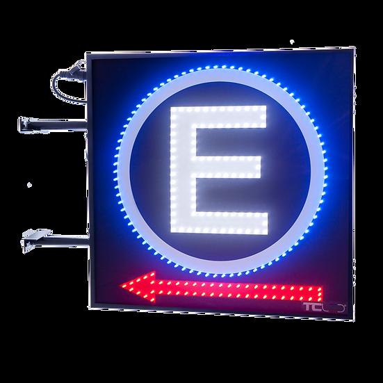 Painel de LED para estacionamento 60x60 - Face única com seta para a esquerda