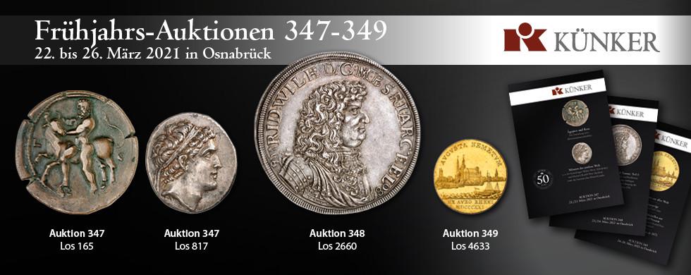 Frühjahrs-Auktionen 347-349 bei Künker in Osnabrück vom 22. bis 26. März 2021