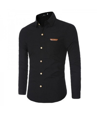 camisa social lisa slim preta masculina