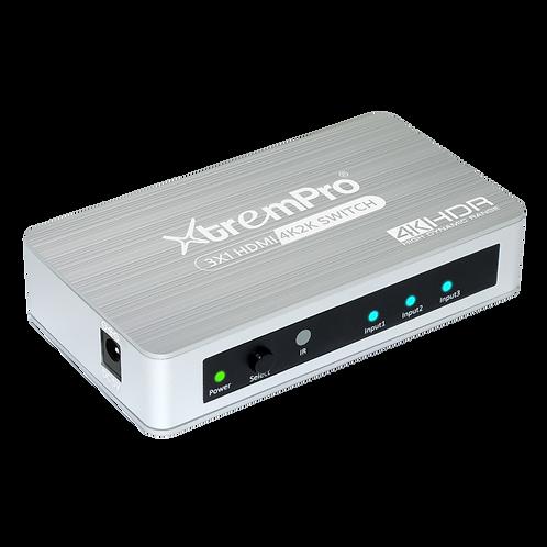 XtremPro 61073 Slim 3x1 HDMI2.0 Aluminium 4K 60HZ/HDCP 2.2 Switcher