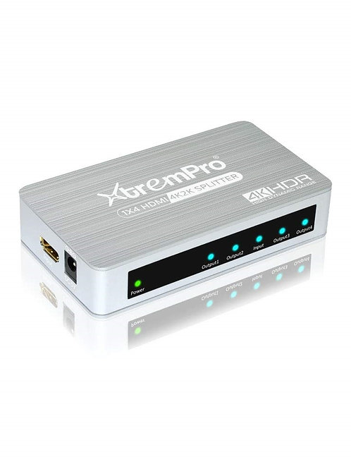 XtremPro 61084 HM-SP104APT 1X4 HDMI2.0 ALUMINIUM AND PLASTIC SPLITTER 4K@60HZ.HD
