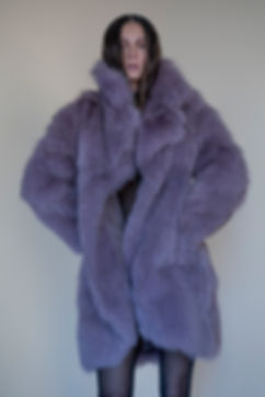 Model wearing lavender fur