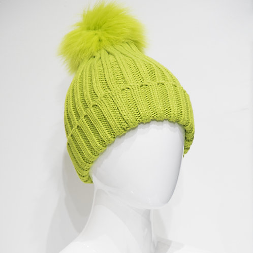 Chartreuse Beanie with pom