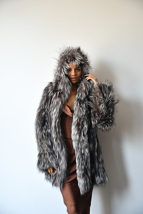 The Hooded Silver Fox Coat