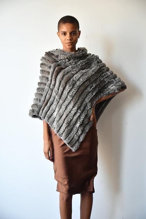 The Diagonal Knit Fur Poncho in Grey