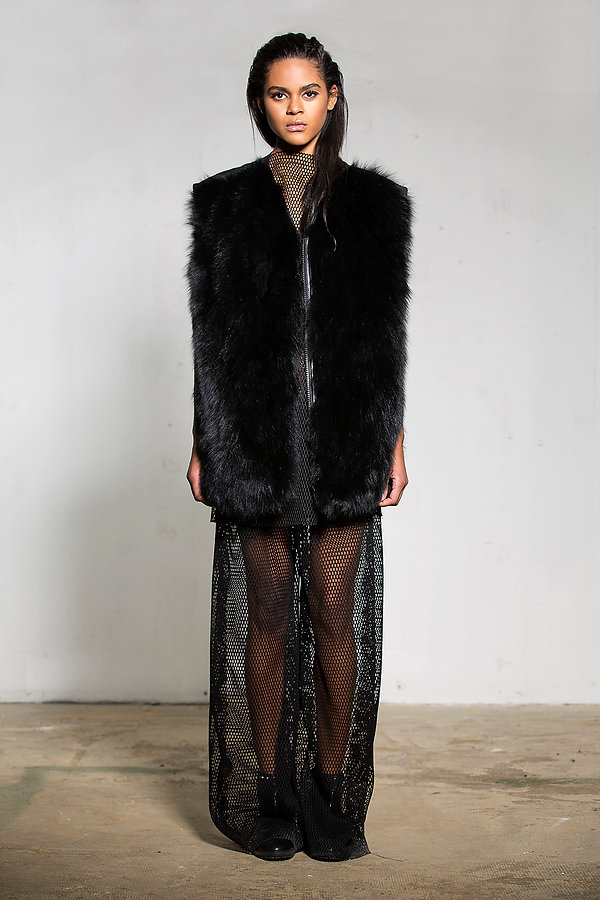 fox fur vest with leather back panel