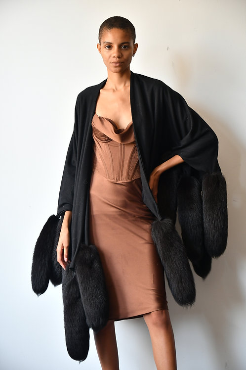 VINTAGE Wool-Blend Cape with Natural Fox Tails