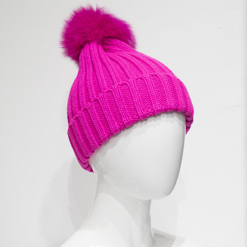 Hot Pink Beanie with Pom