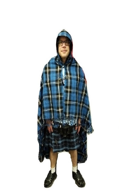 Ramsay Blue Hooded Cape