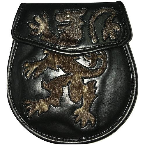 Black Leather Fur Rampant Lion Sporran